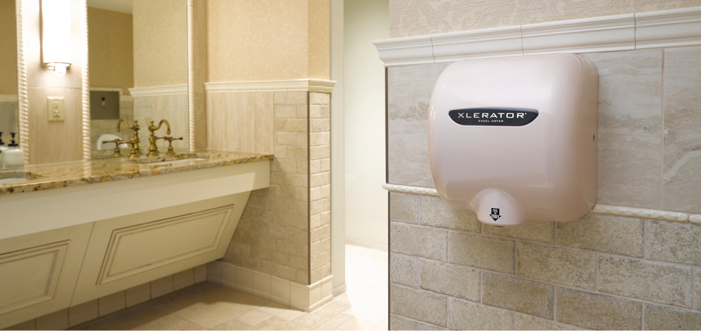 Sleek Public Restroom with Energy Efficient Hand Dryer